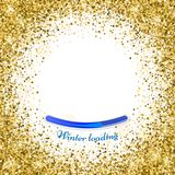 Round gold frame or border of random scatter golden stars on whi. Te background. Design element for festive banner, birthday and greeting card, postcard. Winter Stock Photos