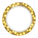 Round gold frame with lights on a light background. Vector illustration Royalty Free Stock Photos