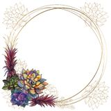 Round gold frame with succulents. Vector. Watercolor. Graphics. Round gold frame with succulents. Vector. Watercolor Graphics stock illustration