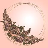 Round gold frame with watercolor flowers. A garland of peonies and lilacs stock illustration