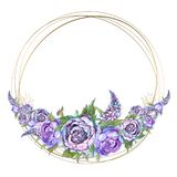 Round gold frame with watercolor purple flowers. Garland of peonies of roses and lilacs. Round gold frame with watercolor  purple flowers. Garland of peonies of royalty free illustration