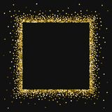 Round gold glitter. Square abstract border with round gold glitter on black background. Unique Vector illustration Stock Photography