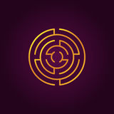 Round gold labyrinth line icon Stock Photography