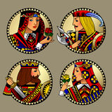 Round gold shapes with faces of playing cards characters. Colorful original vintage design. There is in addition a vector format EPS 8 Stock Photography