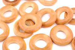 Round golden bagels Stock Image