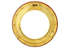 Round Golden Brass Boat Window Isolated Stock Image