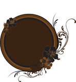 Round Golden-Brown Frame With Stock Images