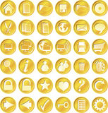 Round golden buttons Stock Image