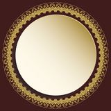 Nice Greeting Card. Round golden frame with floral elements and arabesques. Pattern with arabesques. Fine greeting card Stock Images
