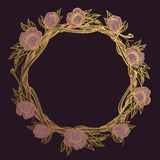 Round golden frame made of branches with lush flowers. Decorative element for design work in the boho style. Wreath on a dark. Background stock illustration