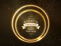 Round golden glowing Merry Christmas rings. Round golden glowing frame with Merry Christmas and Happy New Year typography and light effects for a soft, sparkling Royalty Free Stock Photos
