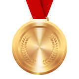 Round golden medal. First place award. Round golden medal on red ribbon with wreath. First place award Stock Photography