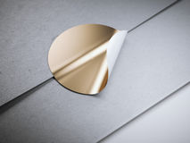 Round golden sticker on white envelope Stock Image