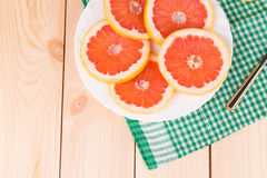 Round grapefruit slices Stock Images