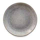 Round Gray Stoneware Plate Isolated Top View. Round gray stoneware plate, empty. Top view, isolated on white Royalty Free Stock Photography