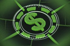 Green dollar sign emblem. Round green American dollar sign emblem with the dollar sign in the center of a circle. Concept of international trade and economy. 3d Stock Photos
