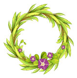 A round green border with flowers Royalty Free Stock Images