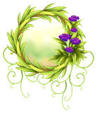 A round green border with violet flowers Royalty Free Stock Photos