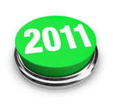 Round Green Button - 2011 New Year Stock Photo