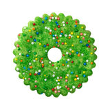 Round Green Christmas Cookie Stock Photos