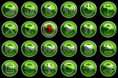 Round green Control panel icons or buttons Stock Images