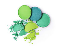 Round green crashed eyeshadows for makeup as sample of cosmetics product Royalty Free Stock Image