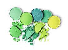 Round green crashed eyeshadows for makeup as sample of cosmetics product Stock Photography