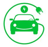 Round green electric car with charging cable symbol stock illustration