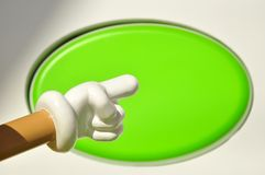 Round green and finger point Stock Images