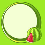Round green frame with watermelon and slice. The design of the cards. Bright vector illustration royalty free illustration
