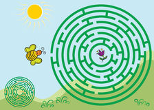 Round green maze game with solution. Royalty Free Stock Photography