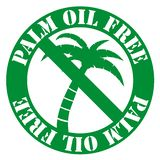 Round palm oil free label with palm tree vector illustration