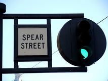 Round Green Street Traffic Light Spear Street Royalty Free Stock Photo