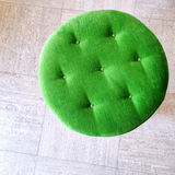 Round green velvet stool Stock Photography