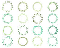 Round green wreaths for labels, invitations. Vector collection of round green wreaths for labels, invitations and cards Stock Photography