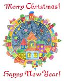Round greeting card with decorated town in frame with colorful decorated cottage houses on white royalty free stock photography