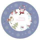 Round greeting card or decorative plate Merry Christmas!. Cute cartoon Santa Claus, reindeer with a glass of champagne, polar bears, raccoons and snowman on Stock Photography