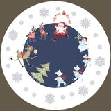 Round greeting card or decorative plate Merry Christmas. 2. Cute cartoon Santa Claus, reindeer with a glass of champagne, polar bears, raccoons and snowman on Stock Image