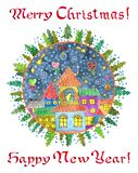 Round greeting card with festive town, village or houses in frame with fir trees and text royalty free stock photography