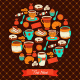 Round greeting card with tea coffee and sweets Royalty Free Stock Photos