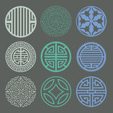 Round grid Symbol sets. Geometric Pattern Design. Korean traditi Stock Photo