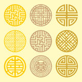 Round grid Symbol sets. Geometric Pattern Design. Korean traditi Stock Images
