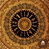 Round grka płytki geometryczny tło z winogronami i wino producentem deseniuje i stawia czoło ilustracji
