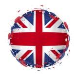Round grunge flaga Zjednoczone Królestwo z pluśnięciami w chorągwianym kolorze ilustracji