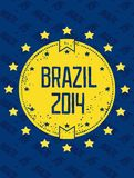 Round grunge label - Brazil 2014. Round grunge symbol - Brazil 2014. Star in a circle. Vector eps8 Royalty Free Stock Photography