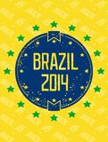 Round grunge label - Brazil 2014. Round grunge symbol - Brazil 2014. Star in a circle. Vector eps8 Stock Photography