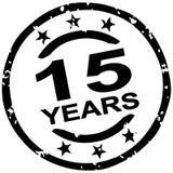 Grunge stamp for 15 years jubilee. Round grunge stamp for 15 years jubilee marketing Vector Illustration