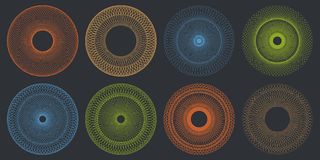 Round Guilloche Pattern Set Stock Photo