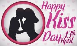 Round guzik z Czule pary sylwetki odświętności buziaka dniem, Wektorowa ilustracja ilustracji