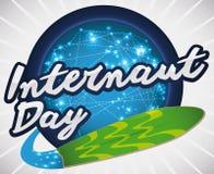 Round guzik z sieć związkami i Surfboard dla Internaut dnia, Wektorowa ilustracja Fotografia Royalty Free
